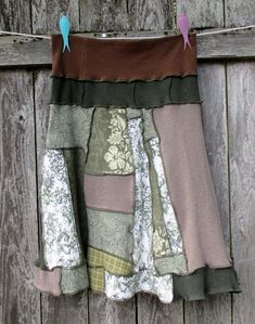 Cotton Recycled Patchwork Moss Green T Shirt Skirt Upcycled