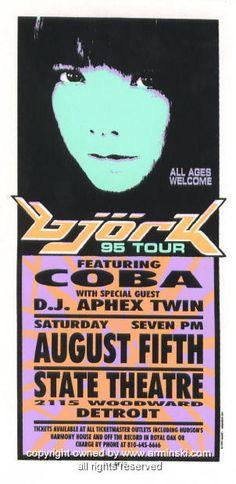 1995 Bjork & DJ Aphex Twin Concert Handbill by Arminski (MA-044)