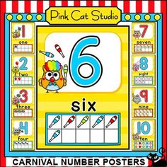 Carnival Owls Theme Numbers Posters: These bright and fun owls theme number posters from 1 to 20 will look fantastic on your classroom wall! They make great flash cards too. By Pink Cat Studio Circus Theme Classroom, Classroom Wall Decor, Owl Classroom, Classroom Walls, Kindergarten Classroom, Classroom Activities, Classroom Ideas, Fun Educational Games, Literacy Worksheets