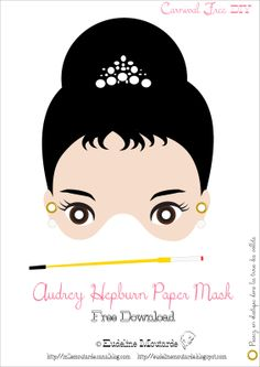 DIY: free printable Audrey Hepburn Paper Mask for a very Breakfast at Tiffany's party.