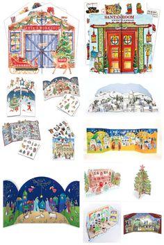 Traditional non chocolate advent calendars. Nativity, Santa, Christmas Tree, Snowy Village.