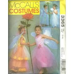Childrens And Girls Flower Fairy Costumes McCall's Sewing Pattern 3365 (Size 3-8)
