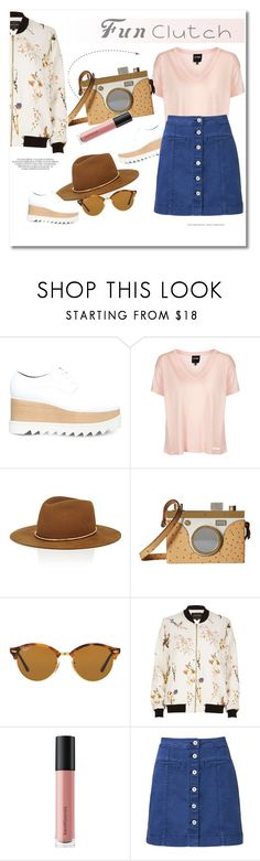 """""""Fun Clutches"""" by vkmd ❤ liked on Polyvore featuring STELLA McCARTNEY, Topshop, Janessa Leone, Charlotte Olympia, Ray-Ban, River Island, Bare Escentuals, Witchery and clutches"""