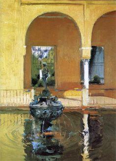 The Fountain in the Alcázof Seville, 1908 - Joaquin Sorolla y Bastida Spanish Painters, Spanish Artists, Architecture Unique, Virtual Art, Painter Artist, Art Database, Seville, Lovers Art, Land Scape