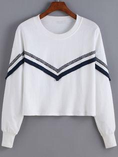 2ef667113d7298 White Round Neck Tribal Print Sweatshirt 15.45 Tribal Print Clothes