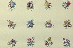 1950's Vintage Wallpaper  Blue Purple and and by HannahsTreasures