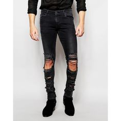 ASOS Extreme Super Skinny Jeans With Extreme Rips In Washed Black ($60) ❤ liked on Polyvore featuring men's fashion, men's clothing, men's jeans and washed black