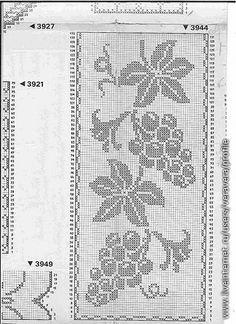 Filé Crochê Afegão Padrões Belo Desenho Uva -  /    Fillet Crocheting Afghani Patterns Beautiful Drawing  Grape -