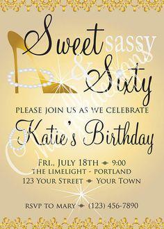 Sweet Sassy & Sixty Birthday Invitation and 2 by cherylkaydesigns, $13.00