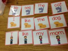 Sight Word Bundle.  Making sentences with sight word cards.  Easy Center.