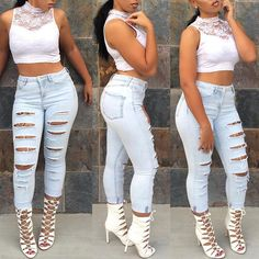 Women Fashion Ripped Hole Denim Skinny Jeans
