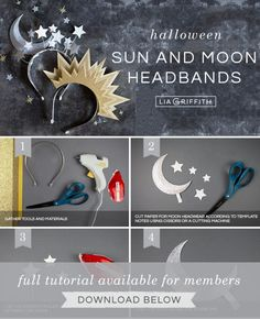 DIY Sun and Moon Headbands for Halloween - Lia Griffith Looking for a beautiful Halloween costume? This one is a stunner! And it's super simple, too. Find out how to make these brilliant sun and moon headbands. Halloween Headband, Easy Halloween Costumes, Halloween 2019, Holidays Halloween, Diy Costumes, Costumes For Women, Halloween Diy, Halloween Decorations, Trendy Halloween