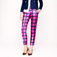 J. Crew Collection café capri in windowpane. The satin-y material would be perfect for the holidays!
