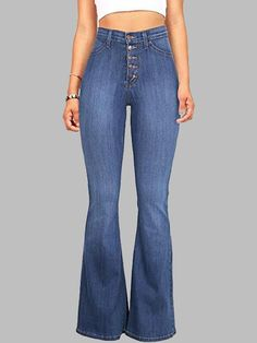 Light Blue Buttons Pockets Vintage Bell-bottoms High Waisted Casual Long  Jeans  jeans Ripped 076de50052