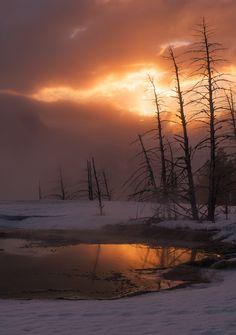 Sunrise at Mammoth hot springs on 500px by Prajit Ravindran, Salt Lake City, USA☀NIKON D810-f/11-1/50s-70mm-iso100, 4912✱6974px-rating:96.9◉Photo location: Google Maps