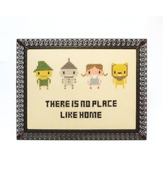 'There is no place like home'  Geeky fan art gone retro ♥  These pixelated heroes in a black vintage frame are handmade by me and ready to hang around in your home.  Sweet Stitches brings together cross stitching and vintage frames with lots of popular heroes from the wonderful worlds of TV, movies, cartoons, music and art.  Every purchase is gift wrapped with care, ready for gift giving or a geeky treat for yourself.  Thanks for looking at my Sweet Stitches ...