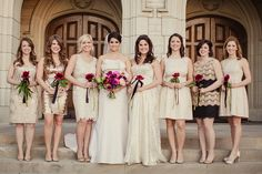 These bridesmaids are wearing their own short dress in shads of gold and ivory and are carrying a single magenta bloom. Flowers by Stems of Dallas. Bridal gown from The Bridal Salon at Neiman Marcus. Photo by Shaun Menary. #wedding #bridesmaids #ivory
