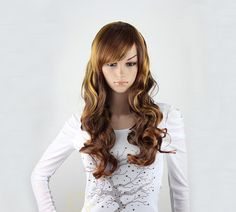 Long wavy brown Wig Gold hightlight long curly hair synthetic highlighted wig -high quality wig, ready to ship by wigglywigs. Explore more products on http://wigglywigs.etsy.com