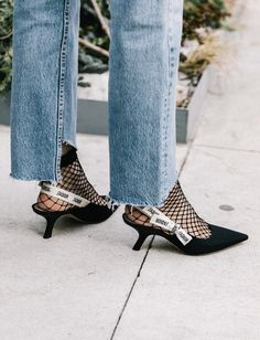 Deconstructed denim, fish net socks and Dior.what more could a girl want! Street Style Trends, Street Style Women, Stilettos, High Heels, Fishnet Socks, Mesh Socks, Nude Outfits, Fashion Gone Rouge, Dior Shoes