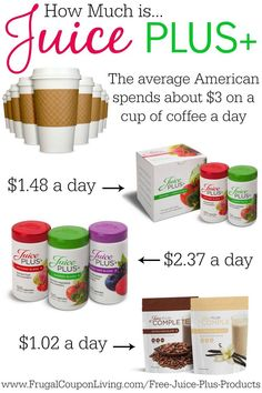 Juice Plus is NOT more expensive than your latte or ice cream. Choose health!  Kids eat free with every adult order.