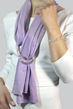 Elegant scarf lilac scarf travel wrap long scarf gift forJewelry scarf, purple scarf, elegant stole, cashmere scarf, elegant scarf … – j … - JeweleryAdd necklace or bracelet to the scarf and loop.I like the use of the beaded necklace as a scarf Scarf Necklace, Scarf Jewelry, Jewelry Bracelets, Necklace Ideas, Etsy Jewelry, Beaded Bracelet, Jewellery, Purple Scarves, Silk Scarves