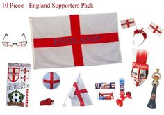 ENGLAND FLAG ST GEORGE FOOTBALL MATCH Novelty Fancy Dress WIG//BRA X 1