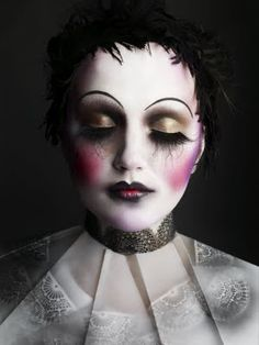 unusually well-executed doll/clown face. // clowns & dolls freak me out.. but i ADORE the delicious creative work of make up extraordinaire Alex Box!