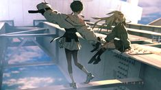 Sky Bridge by Rolua Character Illustration, Oriental Art, Anime Scenery, Art, Anime, Yandere, Anime Characters, Environmental Art, Aesthetic Anime