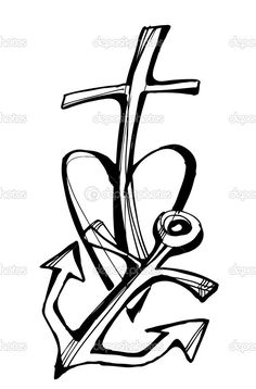 Drawings Of Crosses | Faith - hope - love, Collection of drawing symbols, cross, heart ...