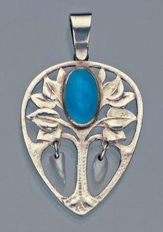 Guild of Handicraft Tree Pendant  Silver Enamel Pearl  British, c.1900