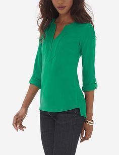 MEDIUM: Trapunto Stitch Tunic Blouse from THELIMITED.com
