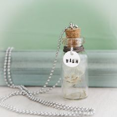 Dandelion Wish Bottle Necklace Sterling Silver Hand Stamped Personalized