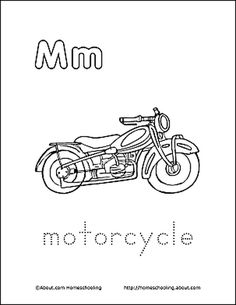 Letter M Coloring Book - Free Printable Pages: Motorcycle Coloring Page