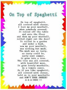"Silly Songs: Lyrics for ""On Top of Spaghetti"" with a Learn Along Video grandparents day printables, deadbeat grandparents quotes, grandparents day books Kindergarten Songs, Preschool Music, Preschool Learning, Preschool Ideas, Preschool Movement Songs, Circle Time Ideas For Preschool, Transition Songs For Preschool, Feelings Preschool, Songs For Toddlers"