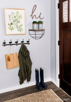 Add emphasis to your entryway with a simple chic gallery wall. 2019 Add emphasis to your entryway with a simple chic gallery wall. The post Add emphasis to your entryway with a simple chic gallery wall. 2019 appeared first on Entryway Diy. Entryway Wall Decor, Entryway Hooks, Small Wall Decor, Small Entryway Organization, Living Room Wall Decor, Entry Coat Hooks, Living Room Gallery Wall, Small Apartment Entryway, Hobby Lobby Wall Decor