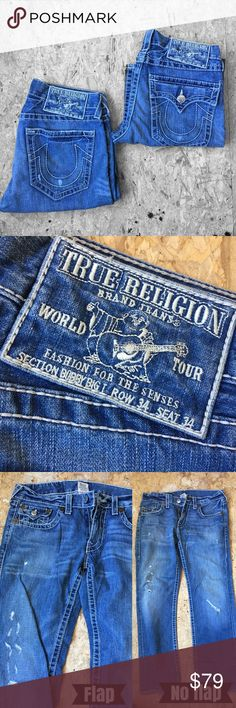 True religion Billy Big T Row, 34 Seat 34 Two pairs of billy big T's roughly the same amount of wear at the ankles/heels. Excellent condition otherwise. Distressed in the same pattern. One has pocket flaps and the other doesn't. Choose flap or no flap when you order. Authenticated to the best of my ability. Medium wash.   *smoke-free, pet-friendly Home. True Religion Jeans Bootcut