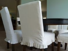 DIY slipcovers for parsons dining chairs. Target Dining Chairs, Parsons Dining Chairs, White Dining Room Chairs, Lounge Chairs, Dining Room Chair Slipcovers, Dining Room Chair Covers, Dining Room Furniture, Adams Furniture, Furniture Ideas