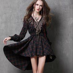 Vestidos Femininos  Yuzi.may Autumn New Vintage Cotton Dress Plaid Patchwork V-Neck Ruffles Asymmetrical Women Dresses  Price: $38.39 (-52% Discount)