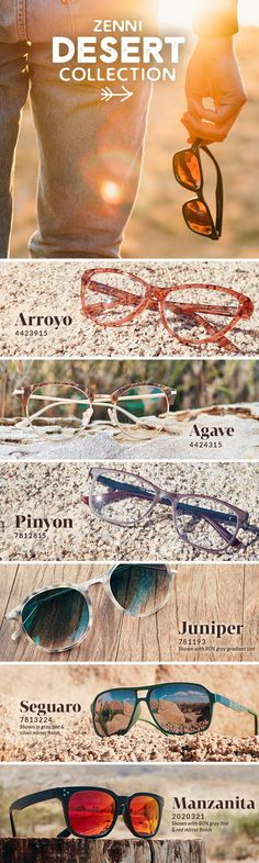Striking eyewear inspired by the rich textures, earthy hues, and otherworldly beauty of the desert.