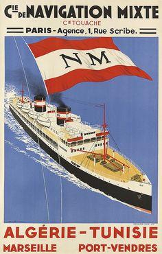 Compagnie de Navigation Mixte - Compagnie Touache - Algérie - Tunisie - Marseille - Port-Vendres - illustration de Sandy Hook (Georges Taboureau) -