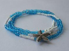 Blue white seed beads wrap layer bracelet, layering necklace, bracelet with starfish, boho/tribal jewellery, everyday jewellery, gift idea