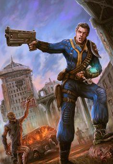 Vault Dweller running away from Ghouls - Fallout 4 Fallout 4 Fan Art, Fallout 4 Funny, Fallout Rpg, Fallout Concept Art, Fallout Cosplay, Fallout Game, Fallout New Vegas, Fallout Vault, Fallout Perks
