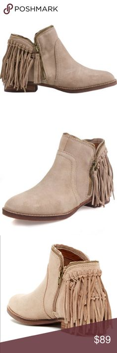 85b64cd0f64a Dolce Vita Taupe Fisher Bootie Flat Bootie with fringe detailing on heel  and zip closure.