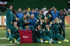 Gold medalists Players of Brazil celebrate on the podium at the medal ceremony for the Football 5-a-side - Men's Gold Medal Match - Brazil and Iran at Olympic Tenis Centre during day 10 of the Rio 2016 Paralympic Games on September 17, 2016 in Rio de Janeiro, Brazil.