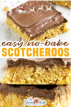 Easy, no bake Scotcheroos are chewy, sweet cereal bars with bold flavors like peanut butter, chocolate, and butterscotch, all in one decadent treat! Scotcheroos are no bake cereal bars, kind of like classic Rice Krispies treats. But these bars are even more delicious than their plain likeness. | The Gracious Wife @thegraciouswife #christmasdesserts #holidaydesserts #Scotcheroos #nobakedesserts #thegraciouswife No Bake Desserts, Easy Desserts, Delicious Desserts, Dessert Recipes, Bar Recipes, Family Recipes, Yummy Treats, Sweet Treats, Snack Recipes