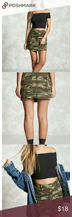 NWT, Forever 21 Camo Print Mini Skirt A Knit Mini Skirt Featuring An Allover Camo Print, A Button Front, And Belt Loops. Size is a US 30 (11/12 in Juniors). Content + Care: - 97% Cotton, 3% Spandex - Machine Wash Cold - Made In China Forever 21 Skirts Mini