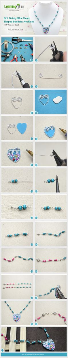 DIY Dainty Blue Heart Shaped Pendant Necklace with Wire and Beads