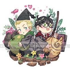 Harry Potter Magic, Harry Potter Ships, Harry Potter Anime, Harry Potter Books, Harry Potter Fan Art, Drarry Fanart, Harry Potter Draco Malfoy, Cute Gay Couples, Fantastic Beasts