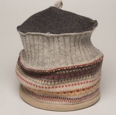This hat has two layers. The lower layer is fleece lined. You can wear it like it is, or roll the bottom layer up, or tuck the top layer down into the band. This one is seen in oatmeal, brown and p…