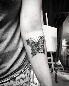 "- Lets Tattoo The World (@xtatts) on Instagram: "" cute little inner arm butterfly piece -------------- Owner: @kadutattoo Follow: ➡️@tattoozoan…"""